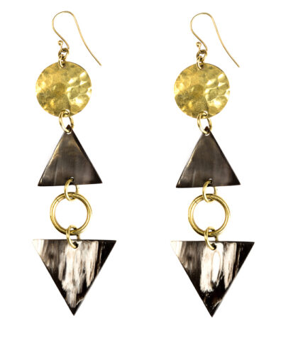 Adele Dejak hammered brass gold-tone handmade African inspired bold statement asymmetrical Harder earrings with black and white cow horn