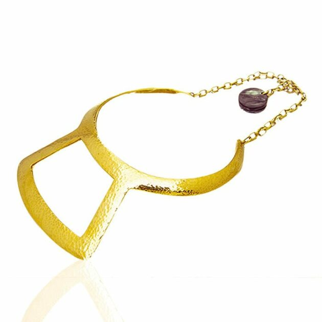 Adele Dejak hammered brass gold-tone handmade African inspired bold statement Hamazzi choker with cow-horn charm
