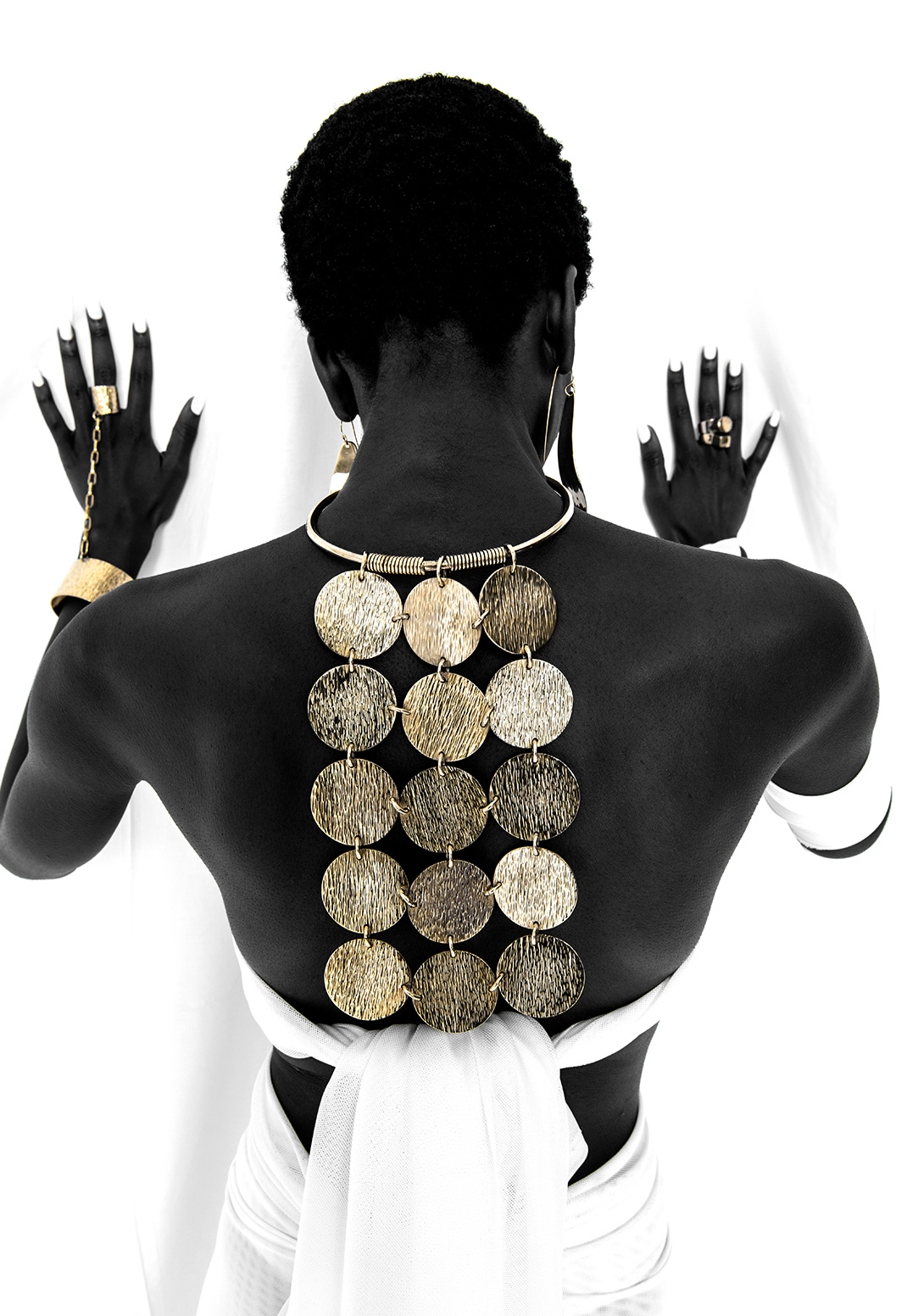 Adele Dejak brass gold-tone handmade African inspired bold statement multilayered neckpiece,chunky two in one bracelet with chain connected to ring