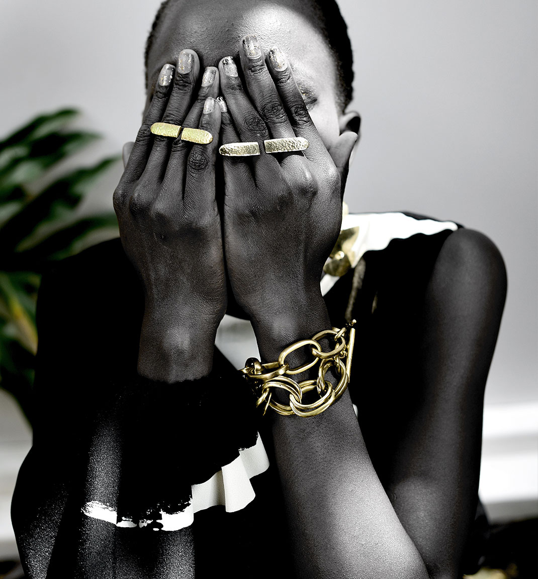 Adele Dejak brass gold-tone handmade African inspired bold statement symmetrical rings and chunky comfortable jump ring bracelet