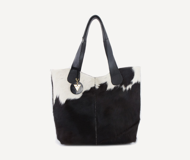 Adele Dejak handmade African inspired bold statement cowhide leather day bag